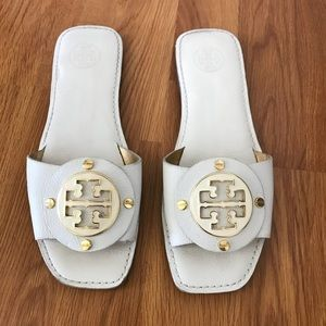 Tory Burch Gaby White Leather Slides